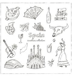 Hand drawn doodle Spain symbols set vector image