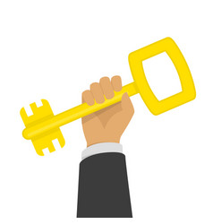 hand holding golden key vector image