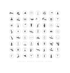 Hands and cosmetics social media cover icons vector
