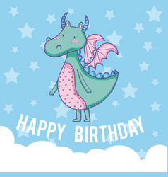 Happy birthday card cute cartoons vector