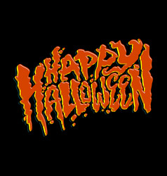 happy halloween text design lettering vector image