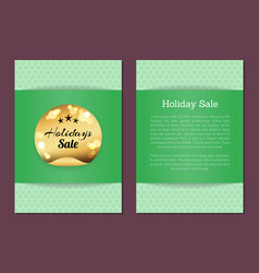 holidays sale golden label stars on blurred gold vector image