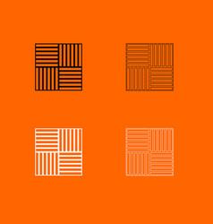 Laminate flooring black and white set icon vector