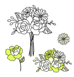 Line style floral bouquet peonies vector