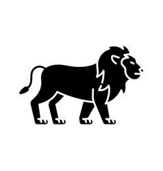 Lion black glyph icon vector