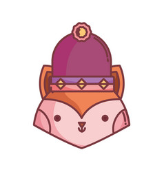 little cute fox head with hat cartoon vector image