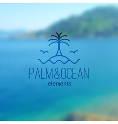 logo of palm on island and waves vector image