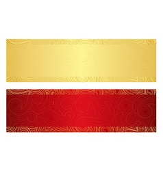 Luxury golden and red gift certificate with swirl vector