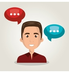 Man talk chat bubble isolated vector