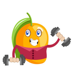 mango workout with weights on white background vector image
