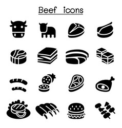 Meat beef icon set vector
