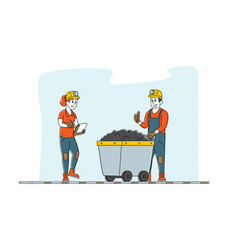 Miners at work extraction industry profession vector