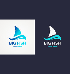 Modern logo for sea fishing vector