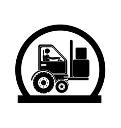Monochrome circular emblem with forklift truck vector