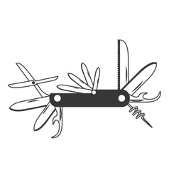 monochrome silhouette with utility knife vector image