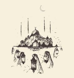 Mosque kaaba arabian lanterns ramadan vector