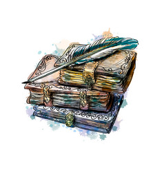 Old books stack and pen from a splash vector