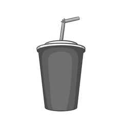 Paper cup with straw icon black monochrome style vector image
