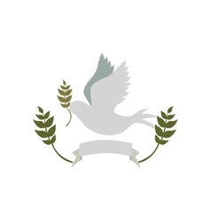 Pigeon with olive branch and label vector