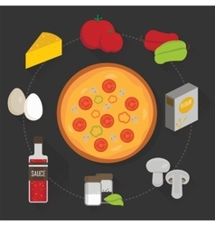 Process of cooking pizza vector
