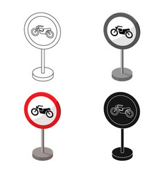 Prohibitory road sign icon in cartoon style vector
