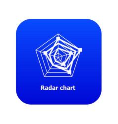Radar chart icon blue vector