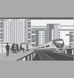Railway station - passengers on the platform vector