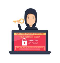 Ransomware malware wannacry risk symbol hacker vector