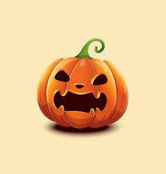 realistic halloween pumpkin angry scaring vector image