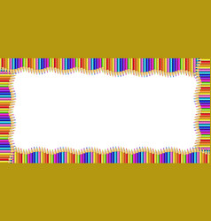 Rectangle border made of multicolored wooden vector