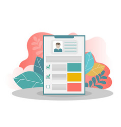 Resume job search and recruiting concept hr vector
