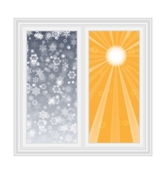 Save heat postcard open window with snowflakes vector image
