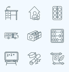 school icons line style set with pencil sharpener vector image