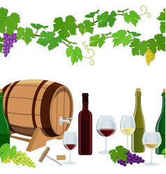 seamless horizontal borders of wine icons vector image