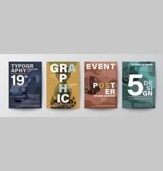 set modern graphic design poster layout vector image