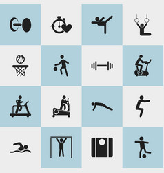 Set of 16 editable active icons includes symbols vector