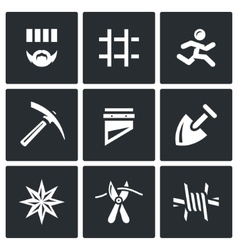 Set of Prison Icons Prisoner Detention vector