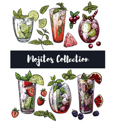 set of six colorful sketches of different mojito vector image