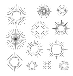 Set of vintage hand drawn sunbursts vector image vector image