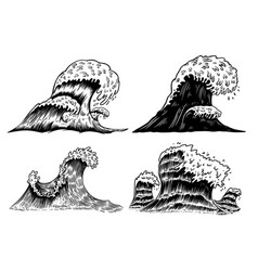 Set sea waves in engraving style design vector