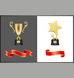 Shooting stars award and golden cup trophy set vector