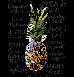 Single sketch pineapple vector