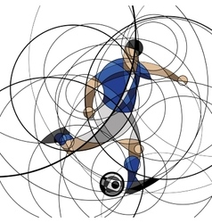 Soccer player in blue and white dress vector