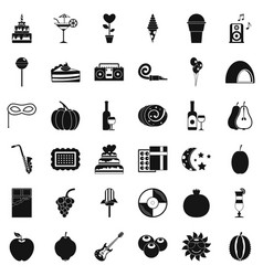 Surprise icons set simple style vector