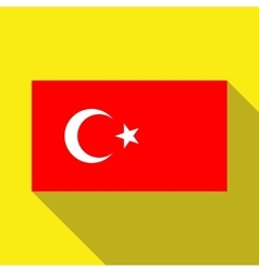 The flag of Turkey on a yellow background with vector image