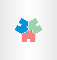 three houses in circle home icon vector image