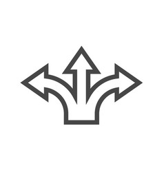 Three-way direction arrow thin line icon vector