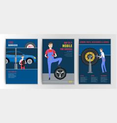 Tire brochure mechanic vector