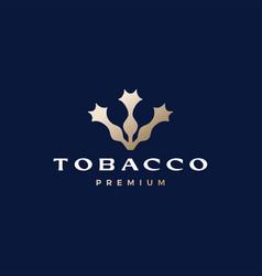 Tobacco tree flower cigarette logo icon vector