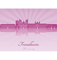 Trondheim skyline in purple radiant orchid vector